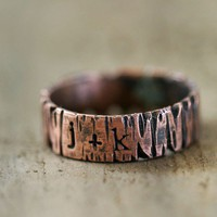 Custom Personalized Band Ring Tree Bark Redwood Tree