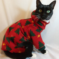 Hooded Christmas Tree Fleece Cat Pajamas