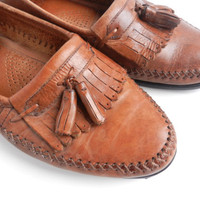 Vintage Men's Brown Leather Tassel Shoes -  Size 10 D Designer Loafers / Fringe Slip Ons