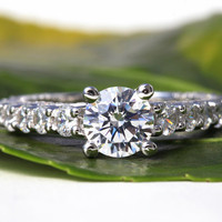 2.71 carats - Round cut Diamond Engagement Ring - 14k White gold