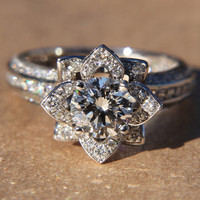 UNIQUE Flower Rose Diamond Engagement or Right Hand Semi mount Ring - 18K white gold - wedding - brides - fL01