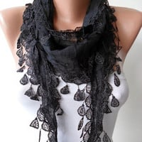 Cotton Scarf - Christmas Gift - Cotton Black Scarf with Trim Edge - Lightweight