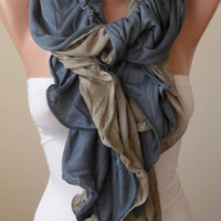 Gray and Light Brown Ruffle Scarf - Combed Cotton