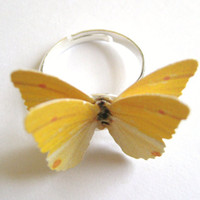 Sunny Yellow Ring Marigold Butterfly Wing by SpotLightJewelry
