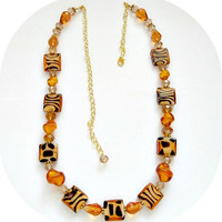 Animal Print Amber Beaded Necklace