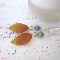 Glass Leaf Beadwork Dangle Earrings - Drop Earrings by 636designs