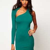 ASOS Ultra Mini Bodycon Dress With One Sleeve at asos.com