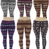 Plus Size 1X 2X 3X  Snowflake Stretchy,Knit,Winter Leggings Black,White,Blue...