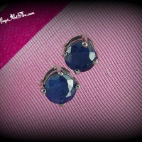 Natural Blue Sapphire Jewelry Solitaire Stud Earrings, Ear Studs