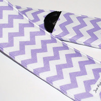 Padded Camera Strap Cover with Lens Cap Pocket - Chevron Purple and White