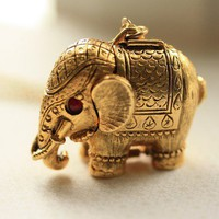 1960s Vintage Elephant Locket Large Perfume Pendant by FreshyFig