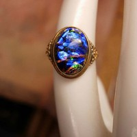 Vintage Art Deco Black OPAL Egyptian Revival by vintagesparkles