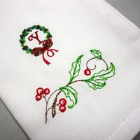 Holly Wreath White Christmas Napkins Monogrammed Initial Set of 4