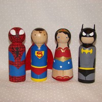 Comic Superhero Foursome by Pegged on Etsy
