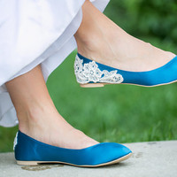 Wedding Flats - Teal Blue Wedding Shoes/Ballet Flats with Ivory Lace Applique. US Size 7