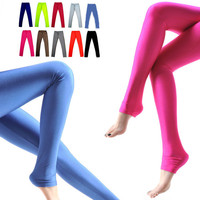 Shiny Fluorescent Slim Opaque Tights Leggings
