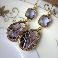 Amethyst Earrings Purple Gold Twisted Design - Bridesmaid Earrings Wedding Earrings Christmas Gift