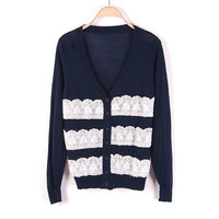 Lace Accent V Neck Cardigan Blouse