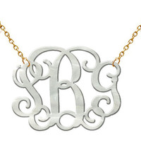 Monogram Acrylic Necklace White Pe.. on Luulla