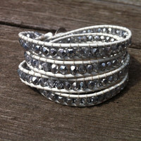 Beaded Leather 4 Wrap Bracelet with Clear Crystal and Silver Tone Czech Glass Beads on White Leather