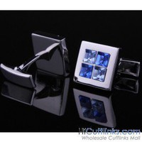 Square Blue Crystal Cufflinks - Crystal Cufflinks - Cufflinks by Material