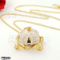Hot Retro Vintage Cinderella Magic Pumpkin Carriage Locket Pendant Necklace