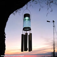Mason Jar Windchime Light Solar Upcycled Garden Decor, Recycled Wind Chime Mason Jar Solar Light