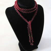 Deep Red Garnet Glass Lariat With Gold Wirework