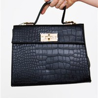 Black Structure Bag- Croco Bags- $62.99
