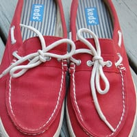 Vintage 90s Keds Red Preppy Nautical Boat Shoes Sneakers Tennis Shoes Topsiders Mules Size 9