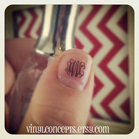 12 monogram nail waterslide decals