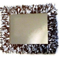 Brown and White Leather Feather Mirror, Bathroom Mirror, Wall Mirror, Entryway Mirror