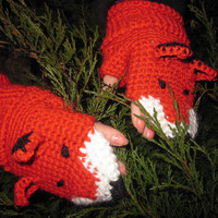 Crochet Fingerless gloves Mittens Fox Funny Girl Teens Women Merino Wool Red Ginger Color Hand Wrist Arm Warmers Animal Puppet