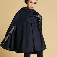 Dark blue Hooded Wool Cape coat (391)