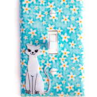 Mod Kitty Cat Switchplate In Blue & White Flower