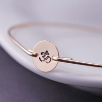 Gold Om Bracelet Yoga Jewelry Hand Stamped Om by georgiedesigns