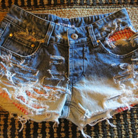 Low Rise ombre BLEACHED  jeans shorts high waisted sz 5  OOAK destroyed Peak-a-boo Pockets Gingham fabric