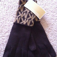 Michael Kors Brown Logo Pattern Knit Gloves