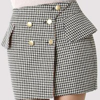Houndstooth Print Bud Skirt with Gold Button Front