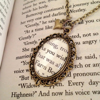 "The Princess Bride ""As You Wish"" Antiqued Bronze Book Page Necklace"