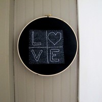 Hand Embroidery in Hoop LOVE Black Gray Neutral by TwigsAndLace