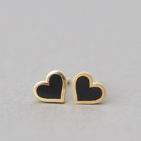 BLACK HEART EARRINGS STUD HEART SHAPE EARRINGS BLACK HEART JEWELRY at Kellinsilver.com - Fashion Jewelry SHop as ETSY