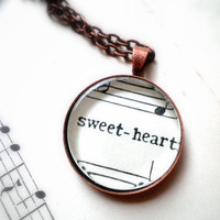 Sweet Heart Sheet music necklace Pendant by ScrapHappyLyrebird