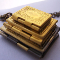 Stack of Books - the book lovers locket necklace - 3 vintage brass lockets -