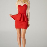 Lace Contrast Peplum Dress (Red)