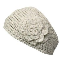 Ivory Hand Made Knit Headband With Flower Detail