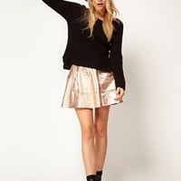 ASOS Skirt in Metallic Leather at asos.com