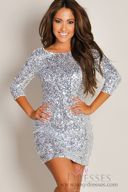 Shimmering silver glam half sleeve sequin from sexy dresses for Glitter new years dresses