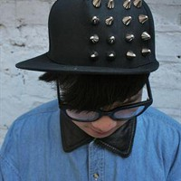 Studded Black Flat Brimmed Hat  from Burger&Fries