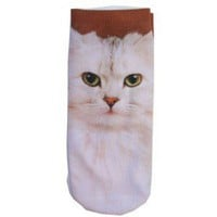 CAT PRINT ANKLE SOCKS by TOKYO HARDCORE